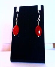 Handcrafted Faceted Ruby Rice Gemstone Sterling Silver Dangle Hook Earrings