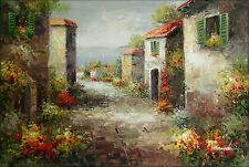 Tuscany Italy Landscape - 4, Quality Hand Painted Oil Painting, 24x36in