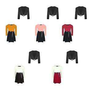 Girls Tik Tok Belt Skater Dress Long Lace Sleeve Bolero Shrug Set Bundle 3-14