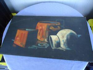 vintage retro original oil painting still lfe mid century gay s on board orange