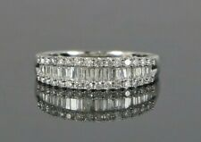 $1,950 18K White Gold 0.50ct Round Baguette Diamond Wedding Band Ring Size 6.25