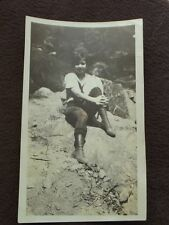 YOUNG GIRL WEARING KNICKERS AND BOOTS SITTING ON A ROCK  Vintage 1920's PHOTO