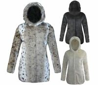 NEW LADIES FAUX FUR WOMENS HOODED JACKET WINTER WARM POCKET COAT TOP SIZES 8-16