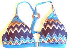 NEW Perry Ellis Designer Crochet Multicolor Zig Zag Triangle Bikini Swimwear S
