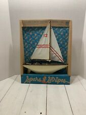 Vtg Tomy Toys Class Yacht Spars & Stripes Toy Lake Boat Nip Sailboat