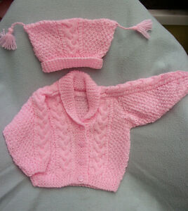 """New Hand Knit Jacket & Hat for Baby Girl 18"""" Chest (22"""")"""