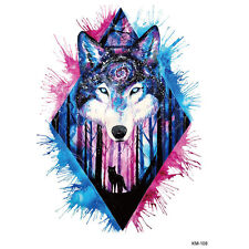 Blue Black Temporary Tattoo diamond Body Art Waterproof Big Wolf Watercolor