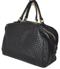 "Sole Society ""Paxley"" Woven Satchel Faux Leather - Black - New $65.99"