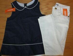 NWT Gymboree Ciao Puppy Size 6 Set Navy Blue Dot Shirt White Skinny Jeans
