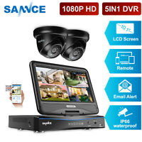 """SANNCE 2x 1080P Dome Camera Security System 4CH 10.1"""" Monitor DVR Home IR Night"""