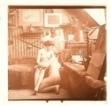 Vue stereo sur verre, Nu artistique en intérieur couple de femmes, Jules Richard