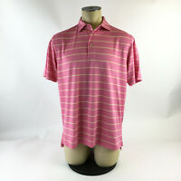Peter Millar Summer Comfort Stripes Polo Golf Shirt Pink Yellow Mens Med