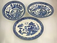 JOHNSON BROTHERS England WILLOW Blue Serving Platter and Bowls Vintage LOT of 3