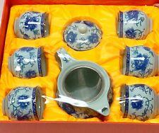White Ceramic Chinese Tea Set 9 Pc Set With Tea Pot & Filter Blue Peony Flower