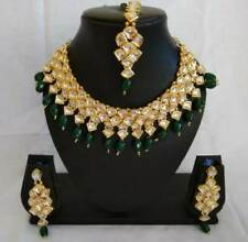 White Kundan Green Beads Choker Necklace Earring Mang Tikka Jewelry for Wedding