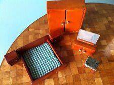 Schlafzimmer Bett Schrank Nachtkästchen Puppenstube Puppenhaus 40er