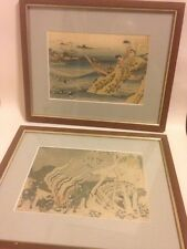 2 x Victorian Anthology Prints Hokusai Style Fishing Hunting Framed Antique