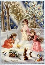 Angeli Bambini Magico Natale Neve Fuoco Xmas Cute Angels Vintage PC Circa 1950