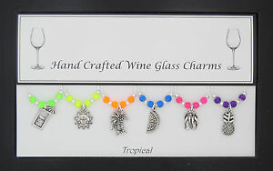 Tropical Set of 6 Wine Glass Charms Handmade Just for You