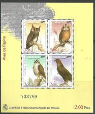 Macau - Raubvögel Block 22 postfrisch 1993 Mi. 727-730