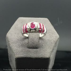 925 Sterling Silver Natural Ruby Gemstone With Diamond Wedding Ring