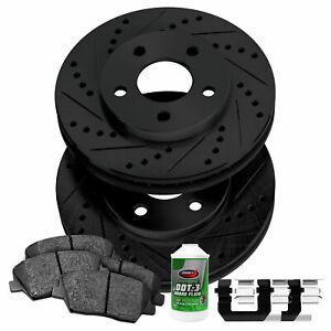 For Chevrolet K20 Suburban Front Black Drill Slot Brake Rotors+Ceramic Brake Pad