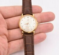 VINTAGE OMEGA REAL 14K SOLID GOLD AUTOMATIC MEN'S WATCH BROWN LEATHER