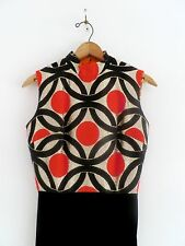 Vtg 60s 70s MOD Gogo OpArt Geometric Red Gold Black Velvet Cocktail Party Dress