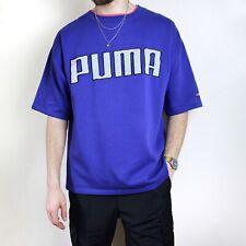 Vintage Puma Sweat T-Shirt Purple And Grey Mens Large