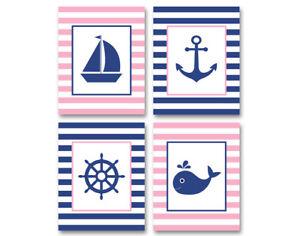 4 prints, nautical art for girl nursery, bathroom - pink and navy wall decor