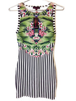 New Material Girl Juniors Sleeveless Print Floral Striped Bodycon Mini Dress $49