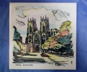 """VINTAGE HAND PAINTED CARTER POOLE POTTERY 6"""" TILE YORK MINSTER Signed EP"""