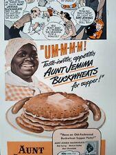 1943 Aunt Jemima Pancake Mix Mammy Black Americana Art Vintage Print Ad