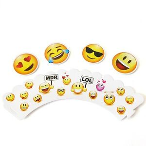 12 LOL Emoji Cupcake Wrappers and Toppers