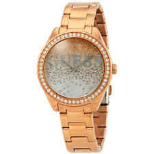 Guess Glitter Girl Rose and Silver Glitter Dial Ladies Watch W0987L3
