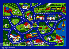 3x5  Area Rug Play Road Driving Time Street Car Kids City Fun Time New BLUE