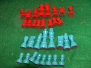 """3"""" King - RED BLUE 32  WOOD   Chess Pieces"""