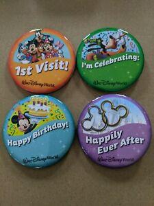 Walt Disney World Celebration Buttons 1st Visit, I'm Celebrating, Happy Birthday