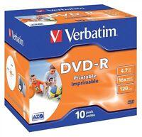 Verbatim DVD-R 4.7GB 16x Speed 120min Inkjet Printable AZO Jewel Pack 10