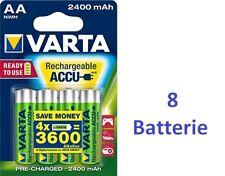 8 batterie stilo AA ricaricabili 2400 mAh VARTA = consumo di 3600 batterie alcal