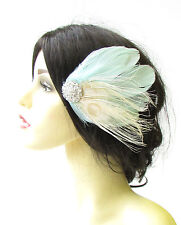 Mint Green Ivory Cream Silver Peacock Feather Fascinator Vintage Hair Clip 1408