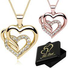 Damen Halskette Zirkonia Herz Anhänger 925er Sterling Silber + Gravur Schmuckbox