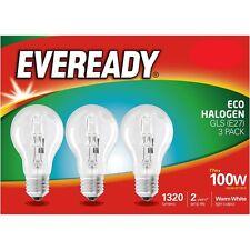 Eveready 100 W E27 ECO Ampoule halogène Energy saver 2 ans de vie 3pk-Blanc chaud