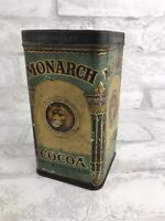 "Vintage Advertising Monarch Cocoa Tin Lion Reid Murdoch & Co Antique 3x3x6"""