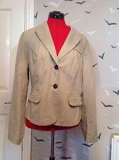 """Stylish M & S Indigo Collection stone jacket, coat, 14 vgc, cotton, 23.5"""" long"""