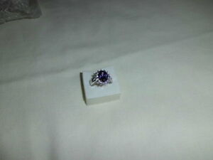 AMETHYST CZ LAB CREATED DRESS RING WHITE GOLD FILL
