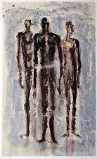 Gerhard Elsner 1930 -2017:  Figuren hinter reflektierender Scheibe Aquarell 1995