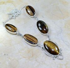 "Golden Tiger's Eye Gemstone 100% Pure 925 Sterling Silver Necklace 20.75"" X94740"