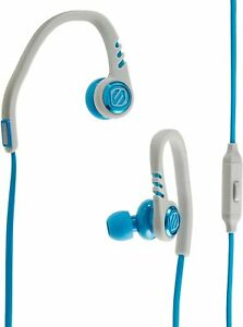 SCOSCHE SPORTCLIP3 EARBUDS HEADPHONES BLUE GRAY W/ MIC REMOTE & MESH CARRY POUCH