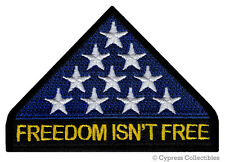FREEDOM ISN'T FREE PATCH KIA IN MEMORIAM iron-on embroidered vet AMERICAN FLAG